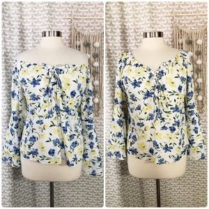 Aryeh Anthro Floral Bell Sleeve Shirt Blouse